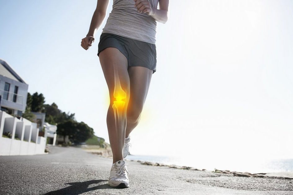 person running -- illustration of bone through leg