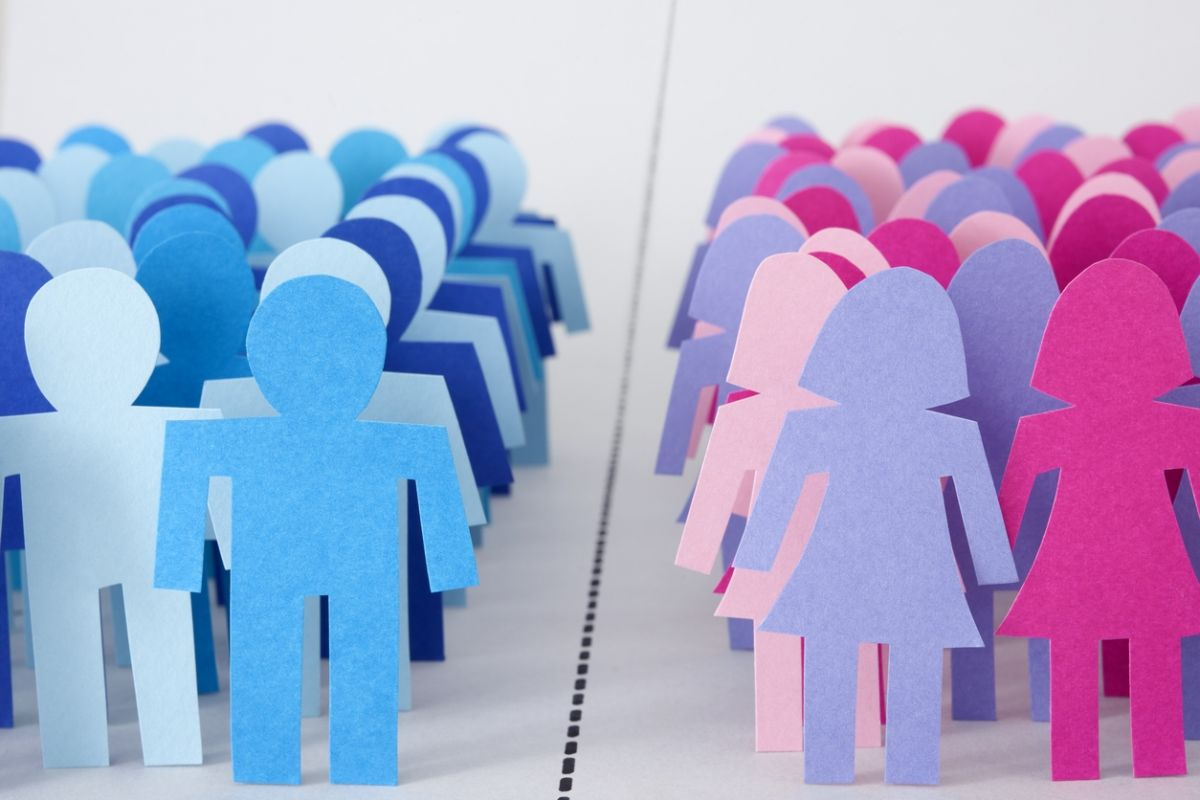 male and female paper dolls divided by line