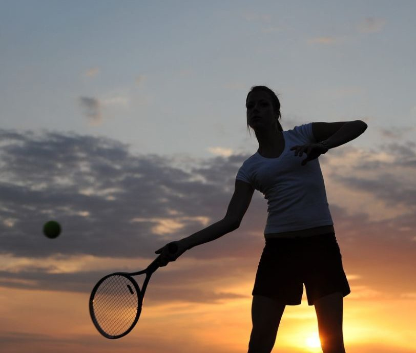 tennis at sunset